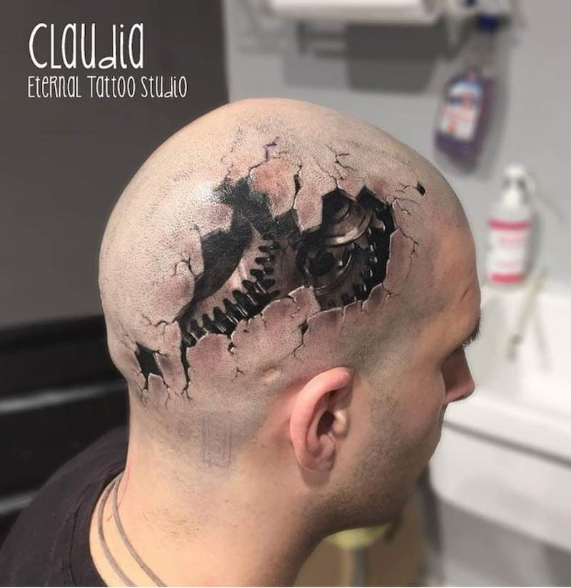 3D Head Tattoo by Claudia Reato