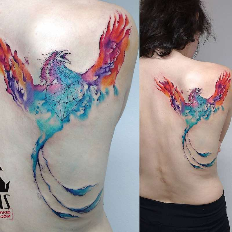 Back Phoenix Tattoo by Rodrigo Tas