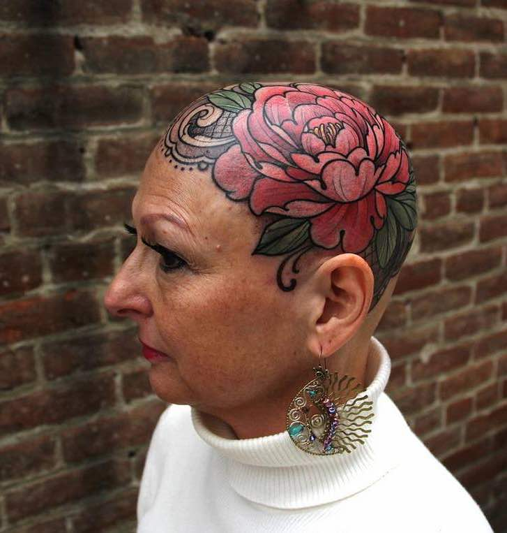 Bald Head Tattoo by Laura Jade