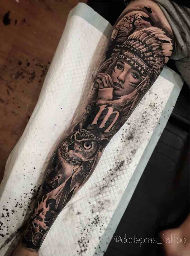 Black and Grey Girl with Headress and Owl Tattoo Sleeve by Dode Pras