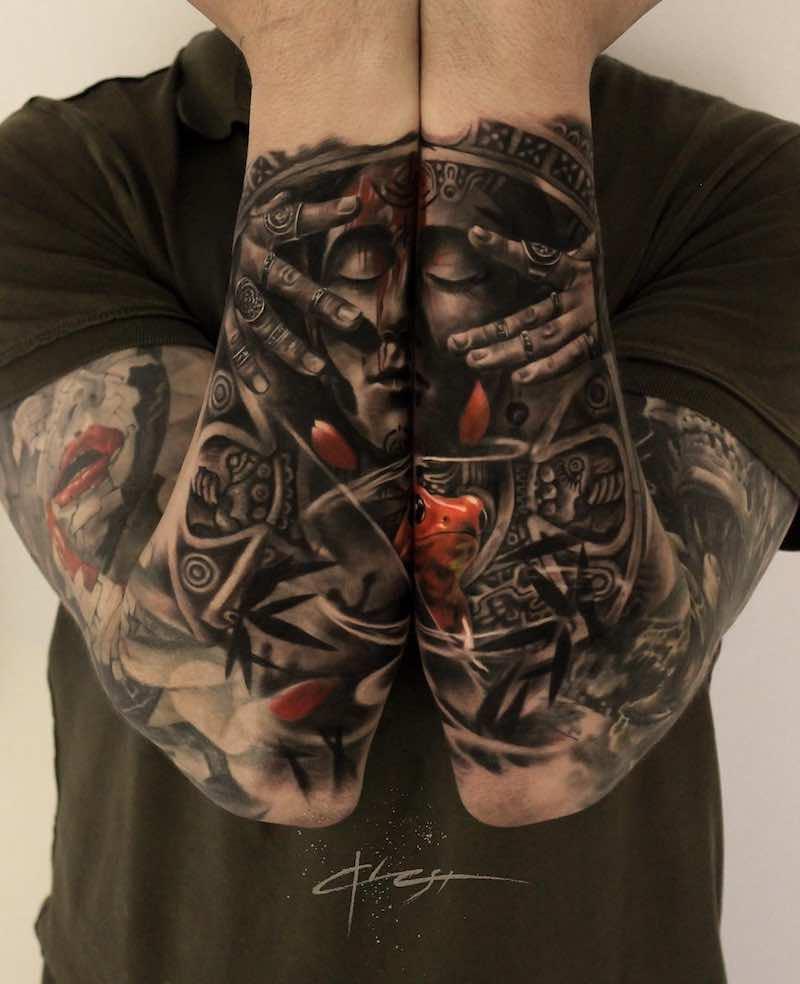 Black and Grey Sleeve Tattoos by Gary Mossman