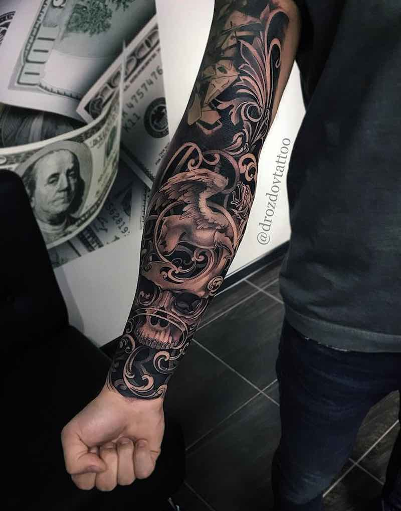 Black and Grey Tattoo Sleeve - Vladimir Drozdov