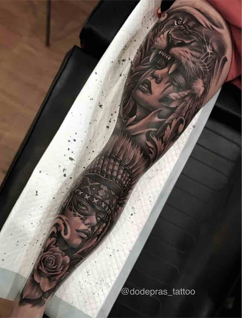 Black and Grey Tattoo Sleeve by Dode Pras