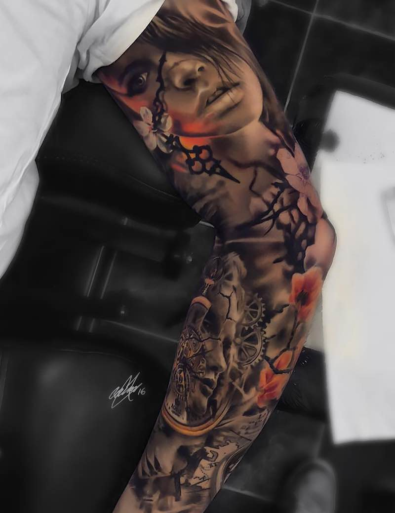 Color Realistic Sleeve Tattoo by Gary Mossman