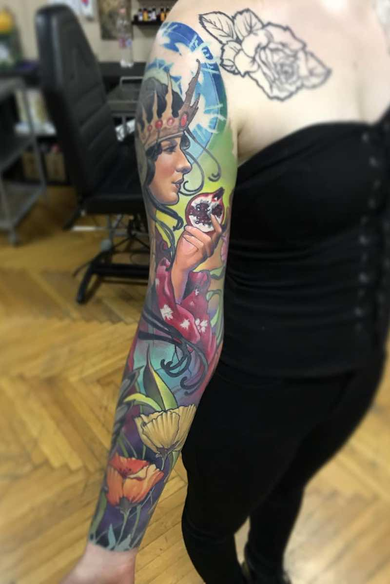 Color Sleeve Tattoo by Szabolcs Oravecz