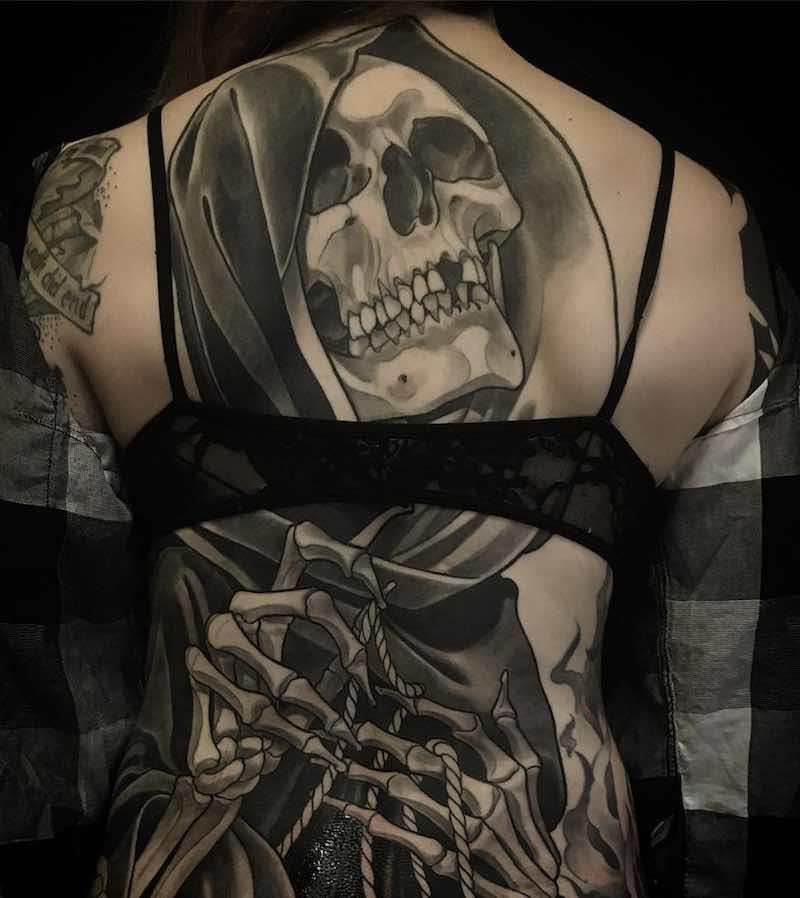 Death Womens Back Tattoos by Eckel