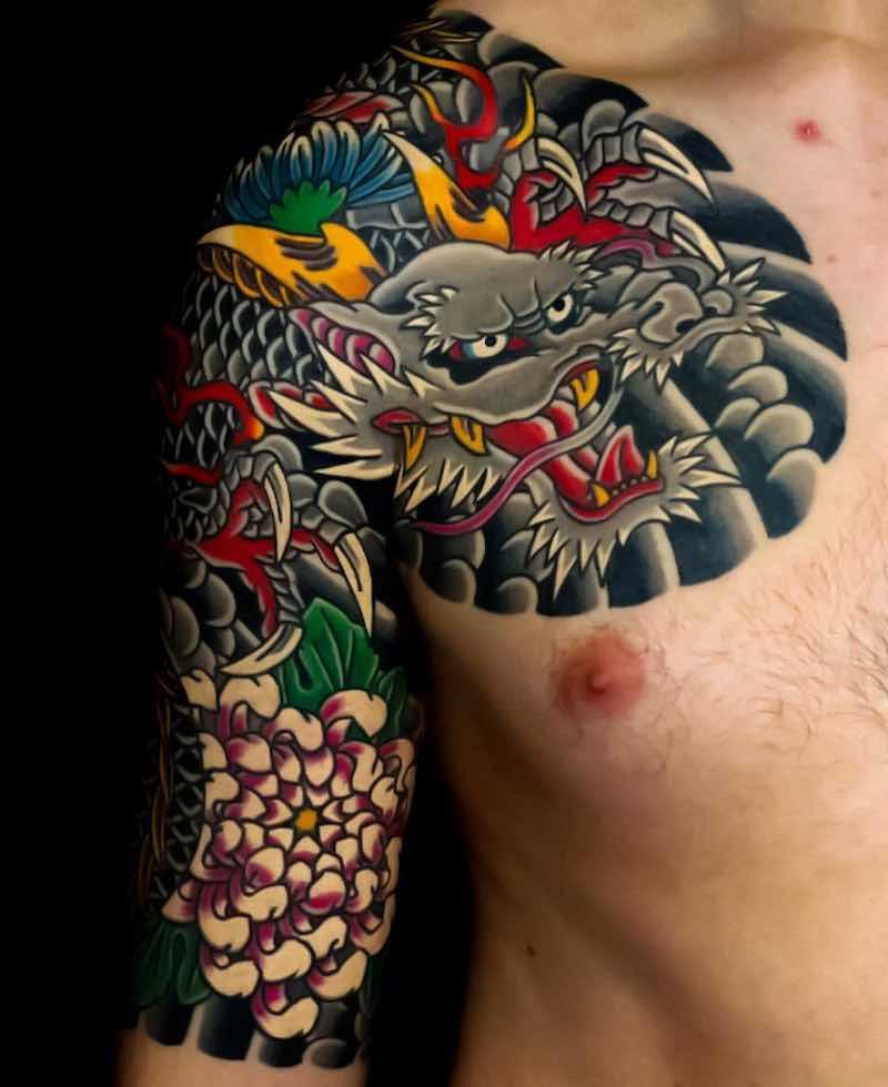 Dragon Half Sleeve Japanese Tattoo by Shunho