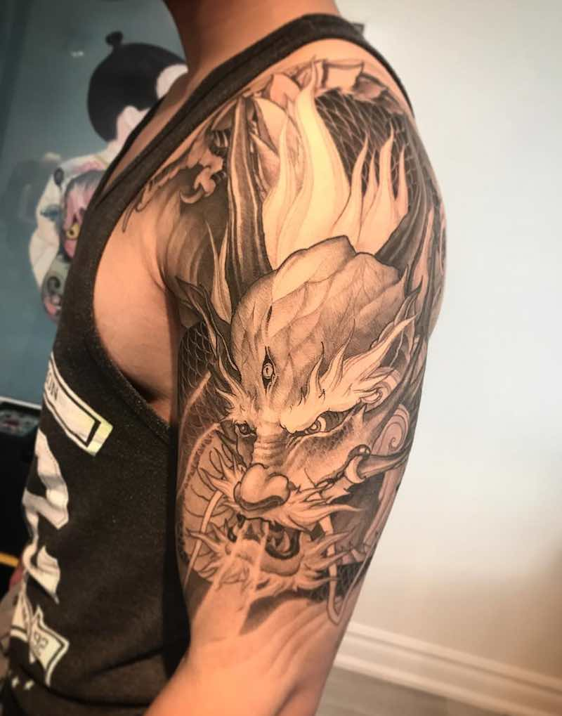 Dragon Half Sleeve Tattoo by Danny Chronicink
