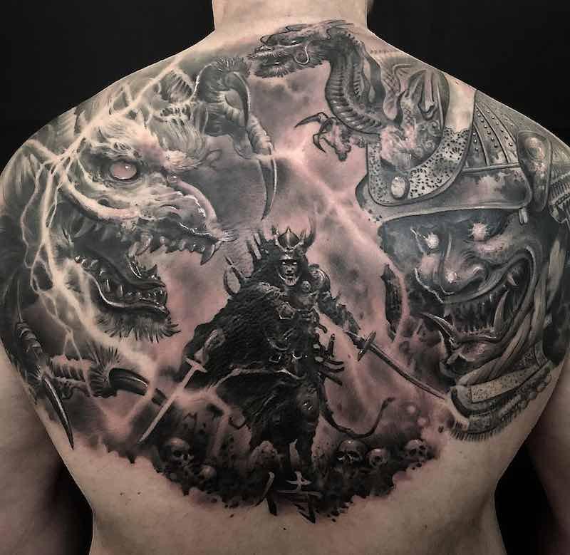 Dragon Samurai Upper Back Tattoos by Ezequiel Samuraii