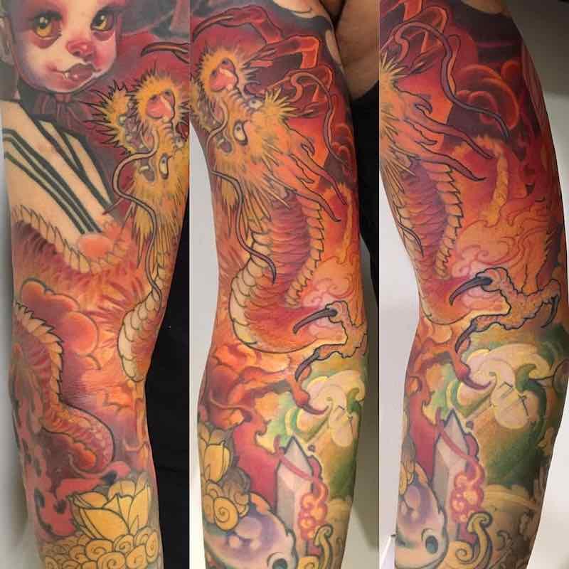 Dragon Sleeve Tattoo by Logan Barracuda