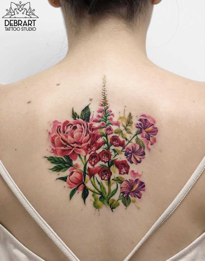 Flower Back Tattoos for Women by Deborah Genchi
