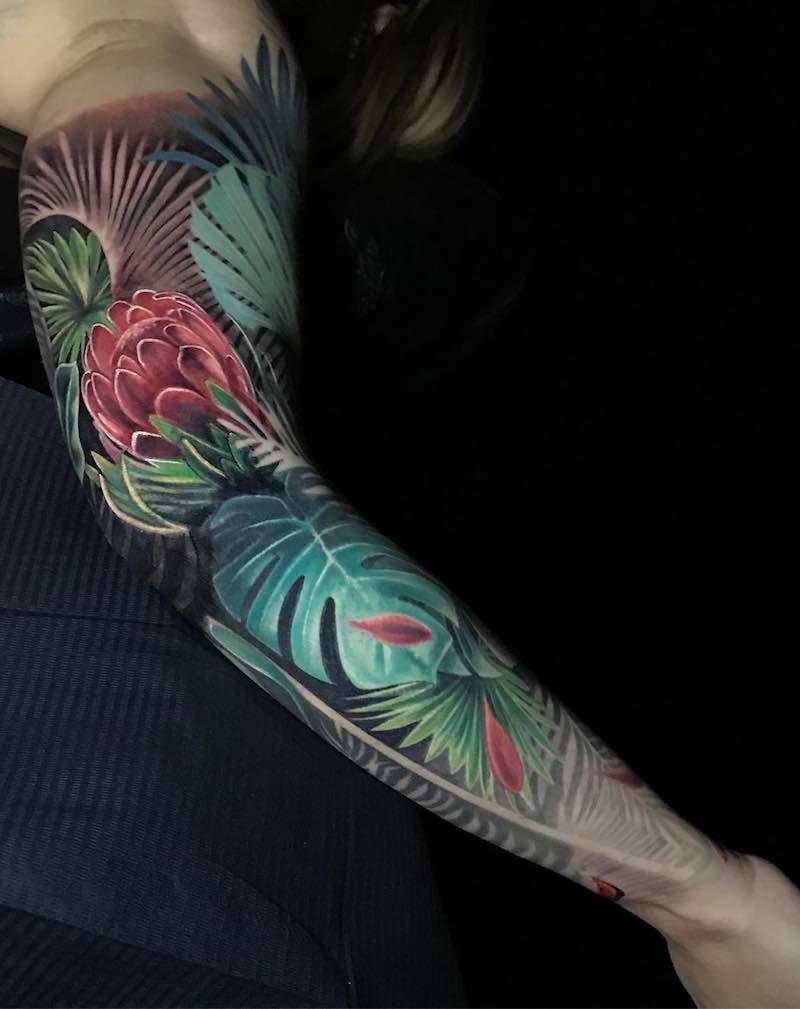 Flower Color Sleeve Tattoo by Boris Tattoo