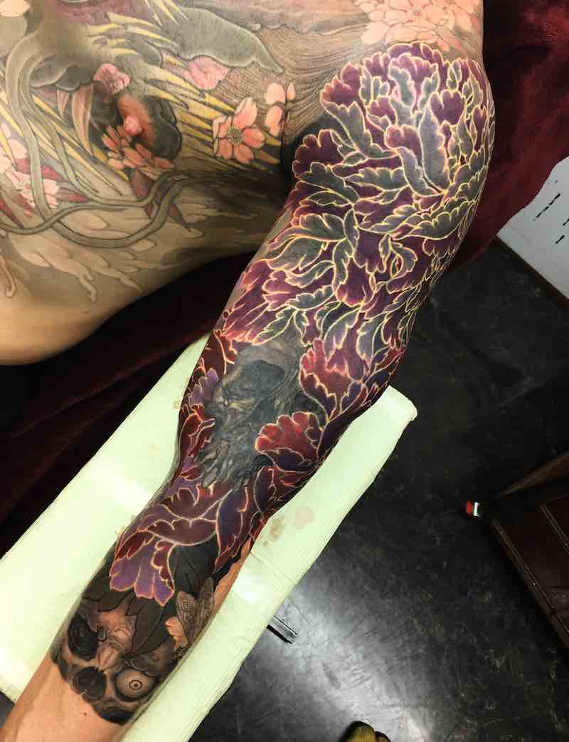 Flower Japanese Sleeve Tattoo by Shige