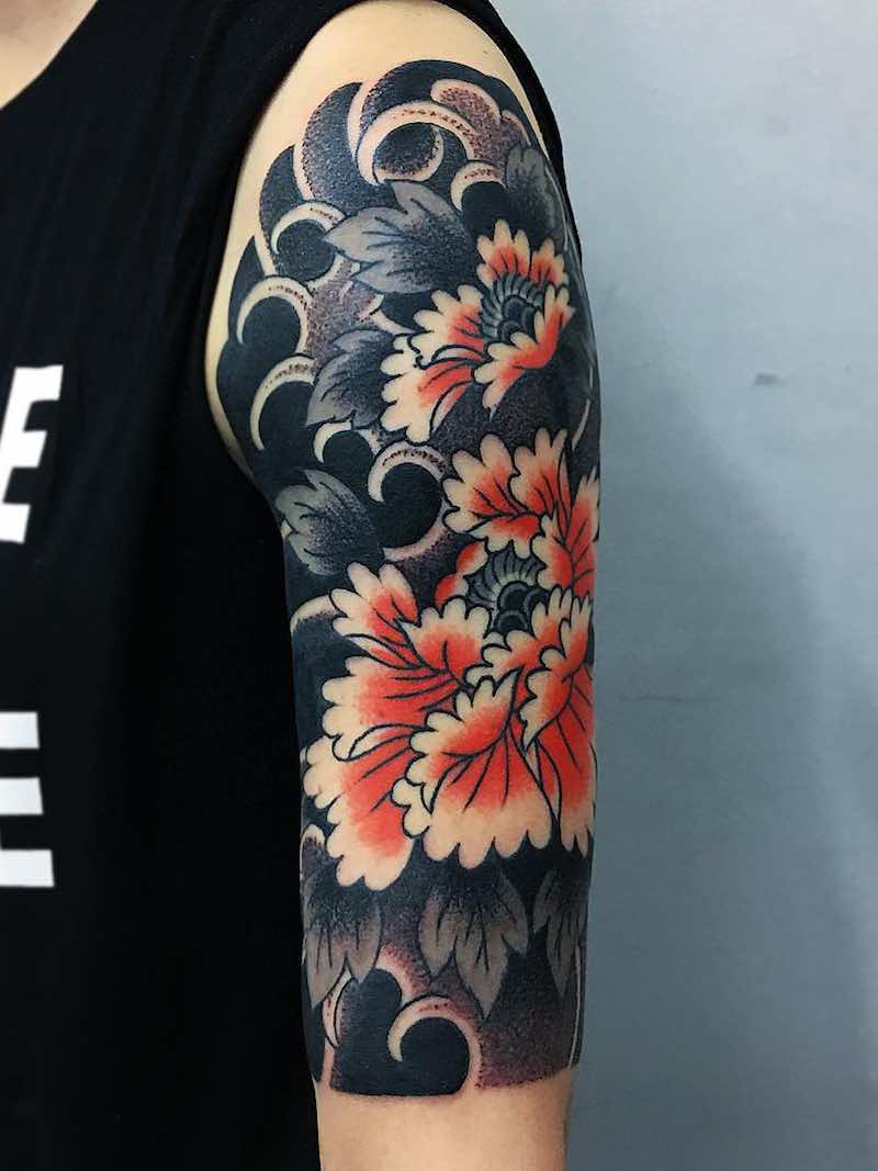 Half Sleeve Japanese Tattoo by Caio Pineiro