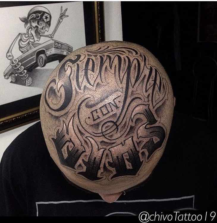 Head Tattoo Lettering by Andres Torres Chivo