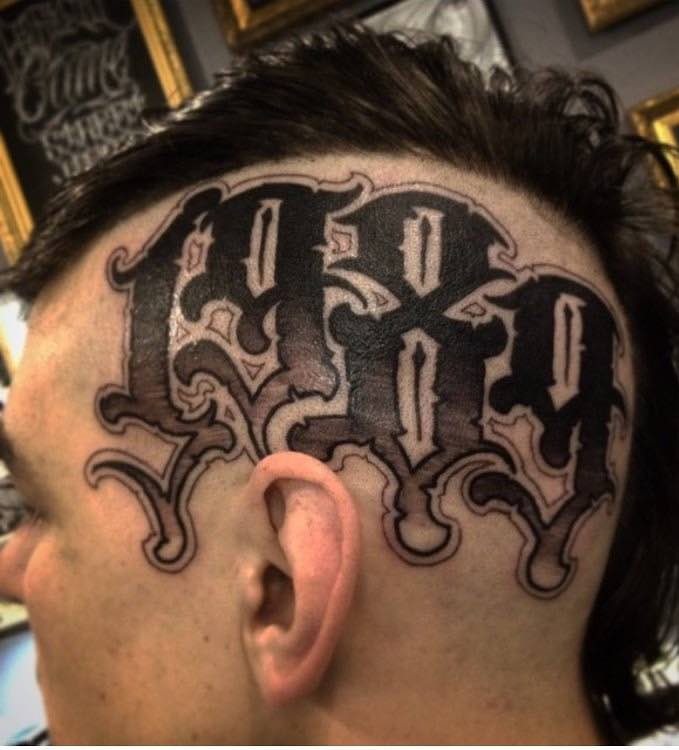 Head Tattoo Lettering by Jerry Tattoo