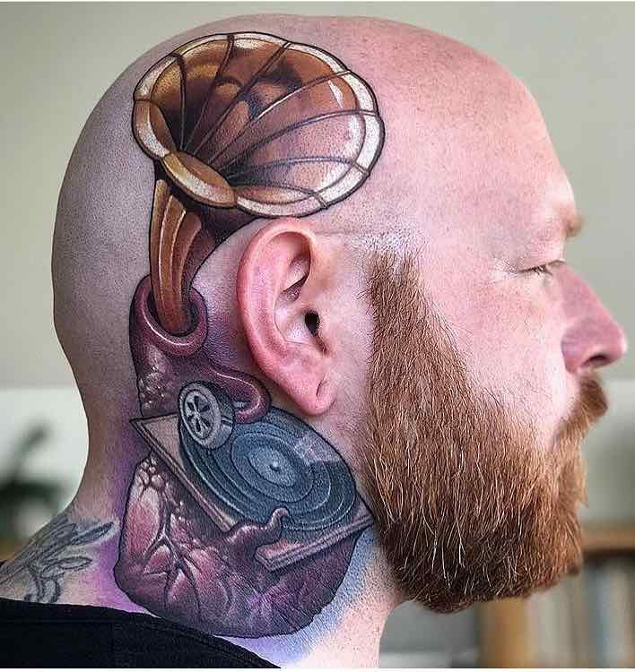 Head Tattoo by Jared Bent
