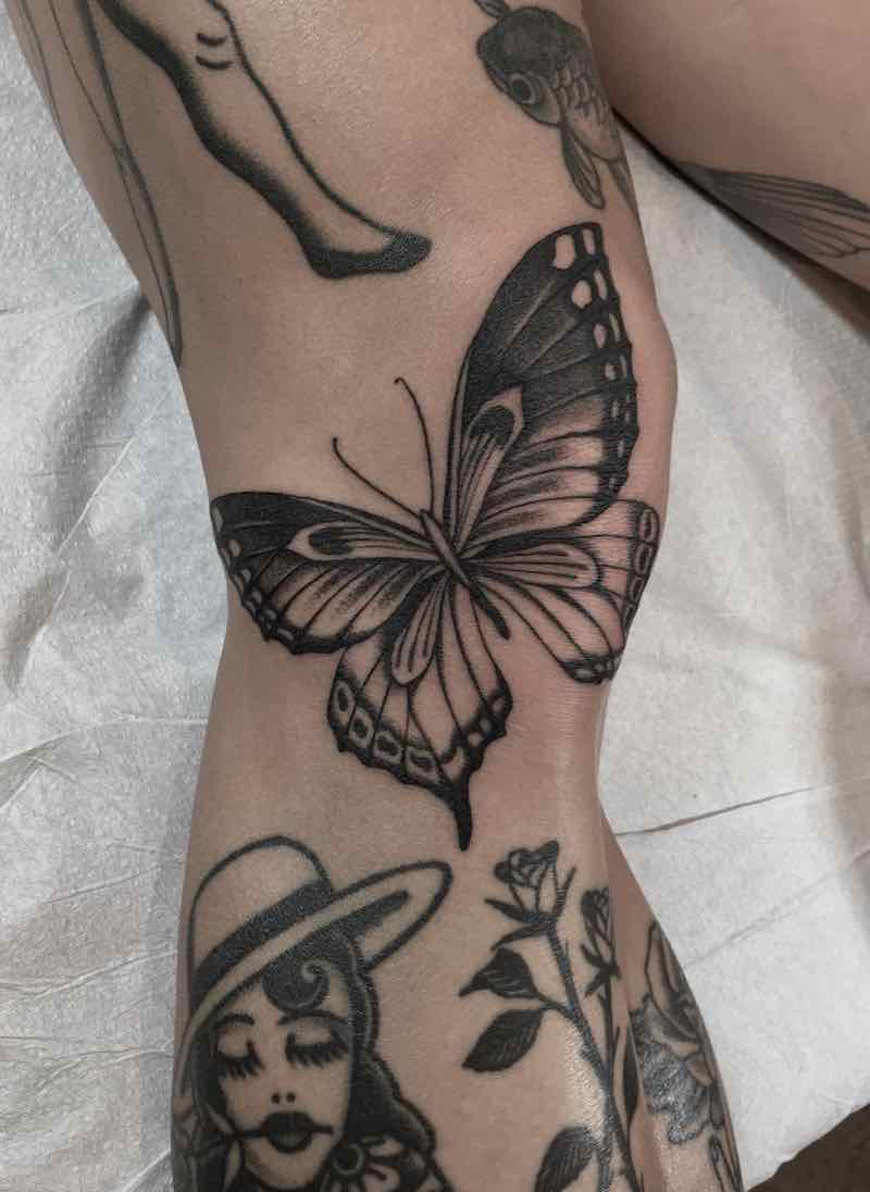Leg Butterfly Tattoo by Justin Olivier