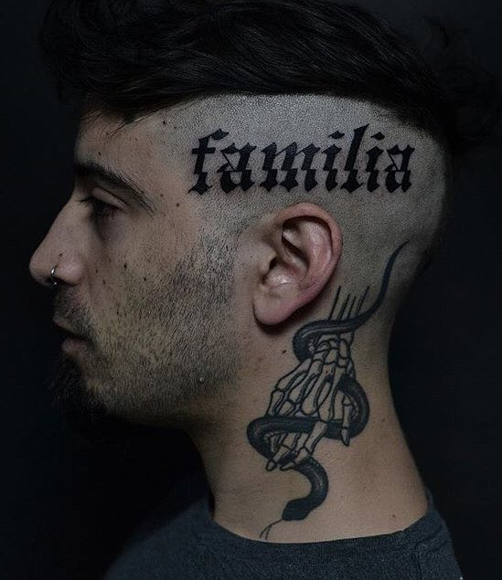 Lettering Head Tattoo by Apolo