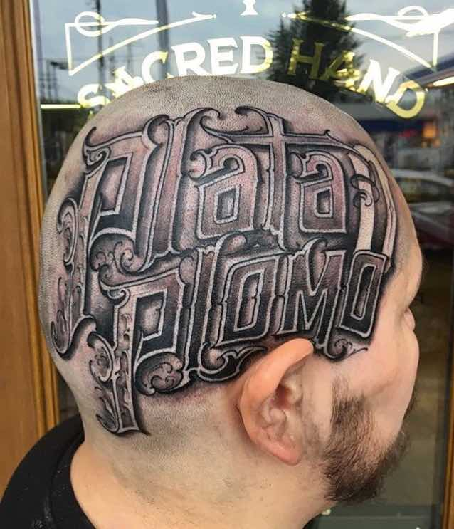 Lettering Head Tattoo by Big Meas