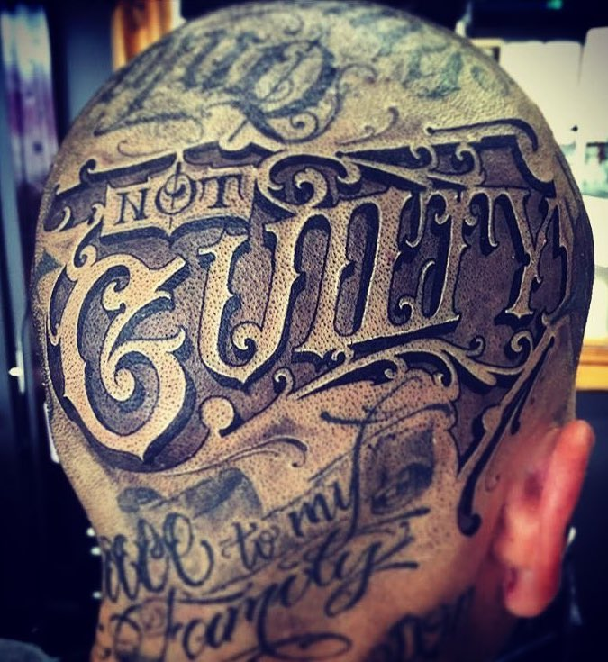 Lettering Head Tattoo by Sam Taylor
