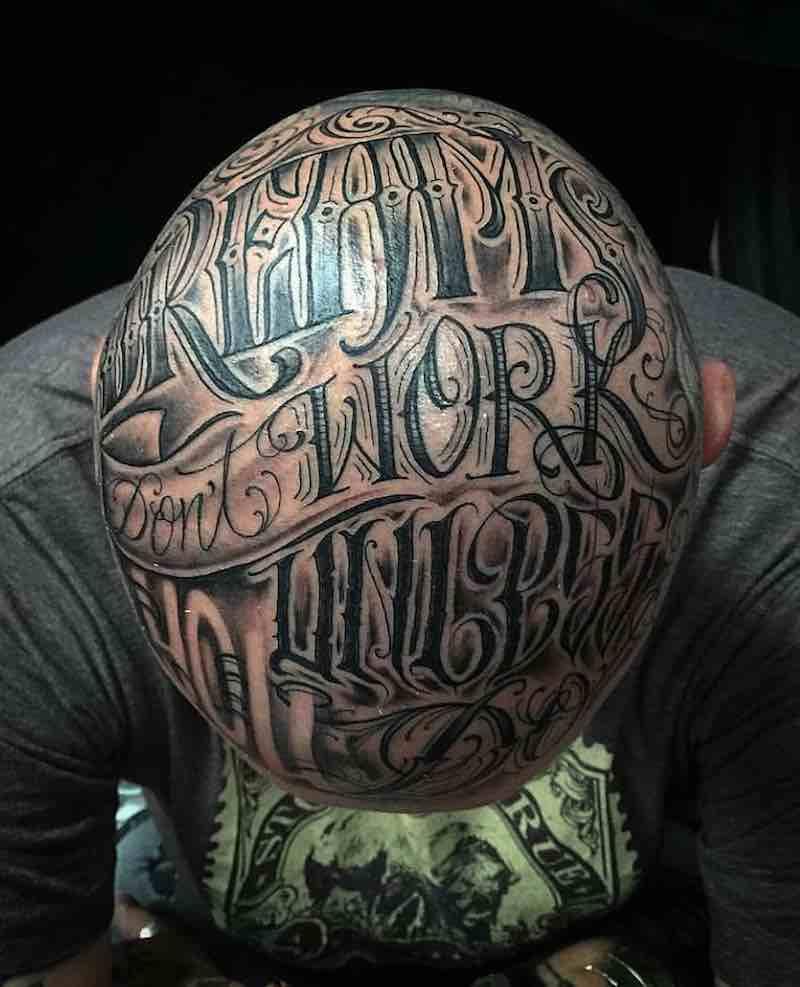 Lettering Head Tattoo by Zombie Joe