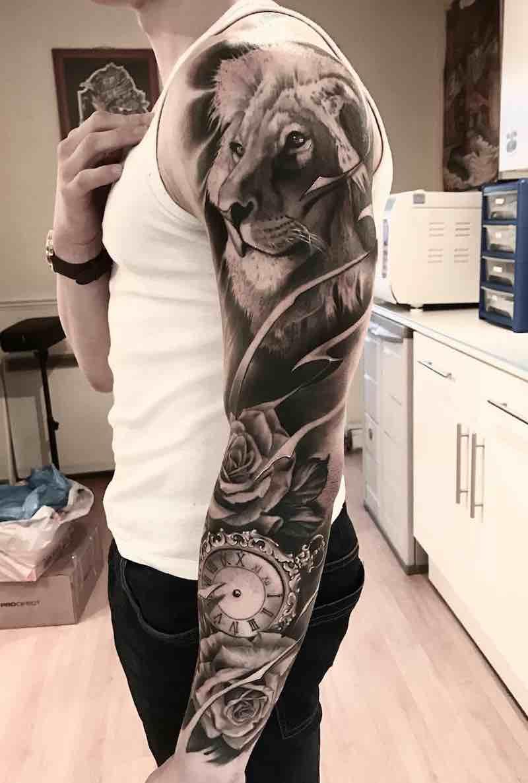 Lion Black and Grey Tattoo Sleeve by Aleksandras Kuznecovas