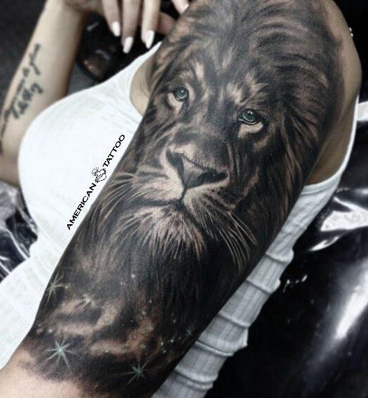 Lion Half Sleeve Tattoo by Jorge