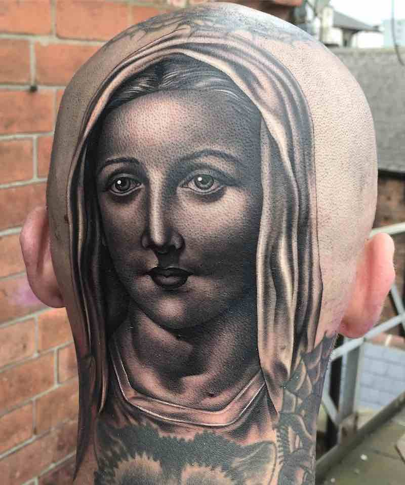Mary Head Tattoo by Justin Burnout