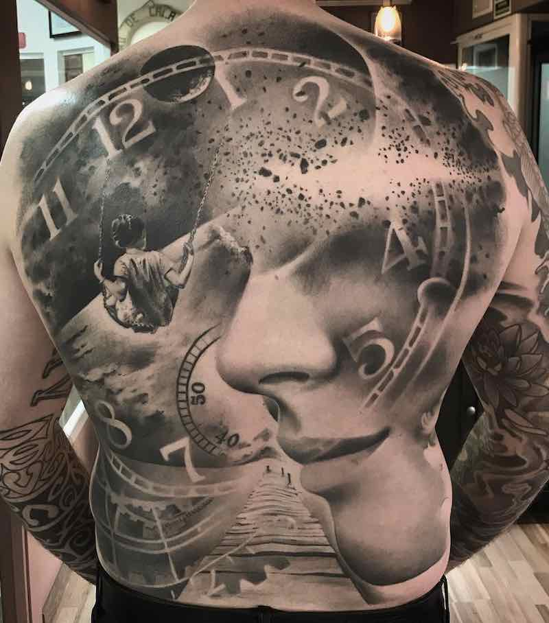 Mens Back Tattoo by Ezequiel Samuraii