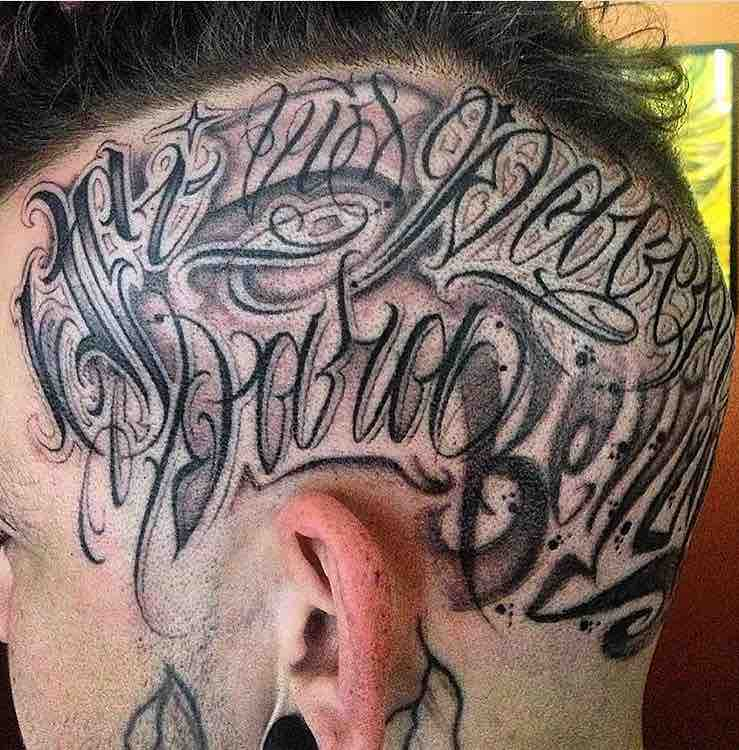 Mens Lettering Head Tattoo by HOBS