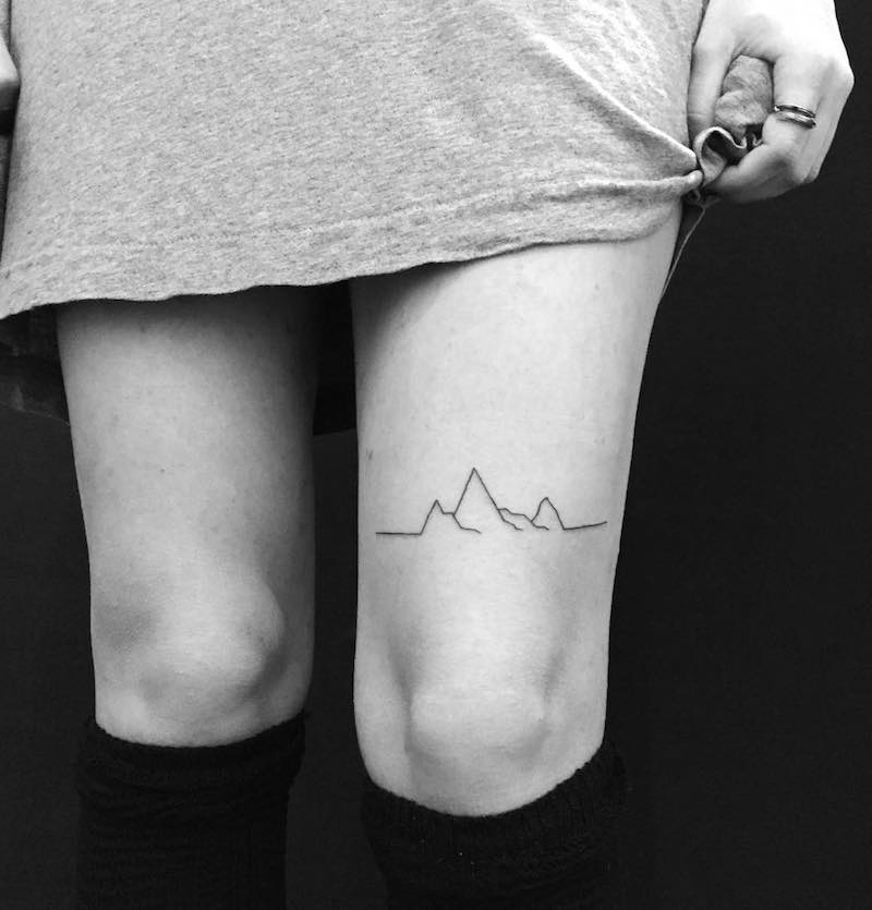 Mountains Simple Tattoo by Chinatown Stropky