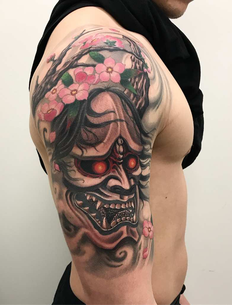 Oni Half Sleeve Japanese Tattoo by Damon