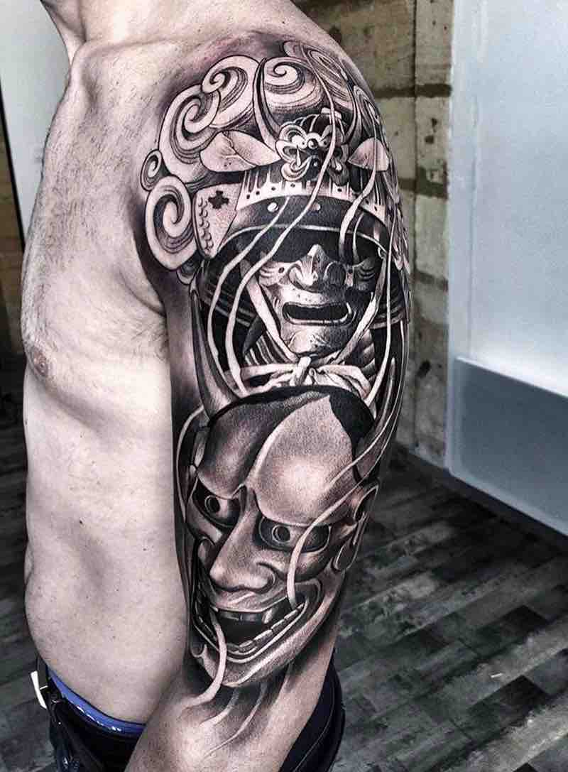 Oni Half Sleeve Tattoo by Lilbtattoo