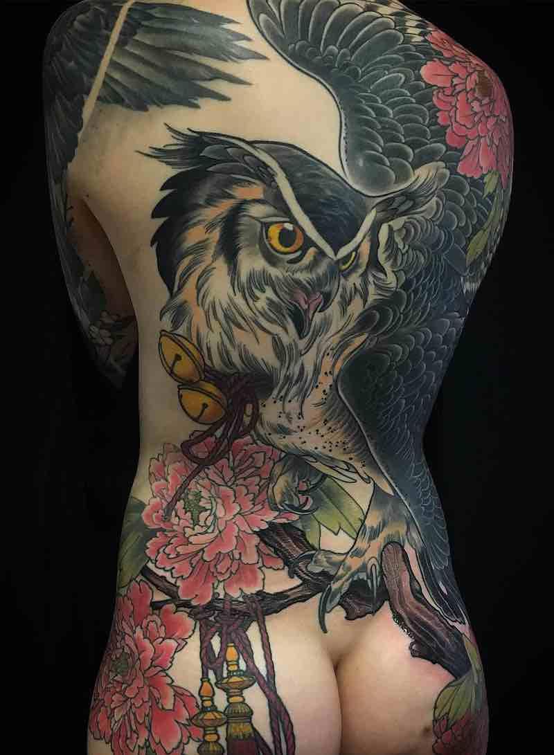 Owl Womens Back Tattoos by Eckel