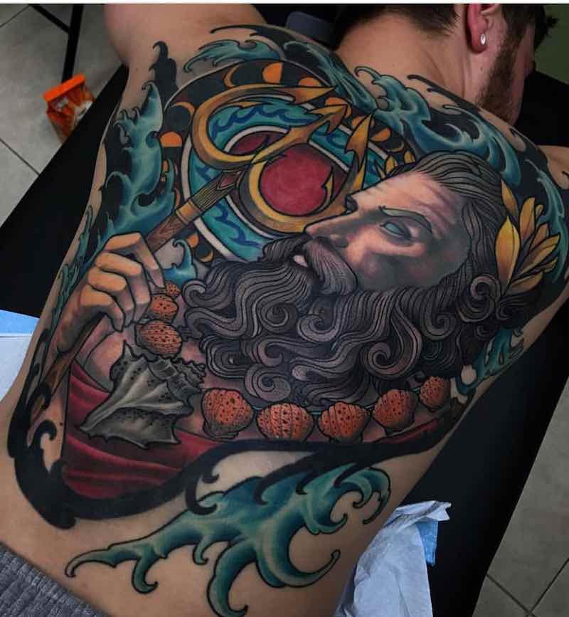 Poseidon Back Tattoo by Travis Brown