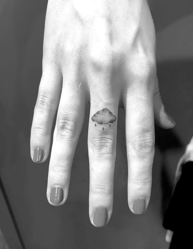 Rain Cloud Finger Tattoo by Winter Stone