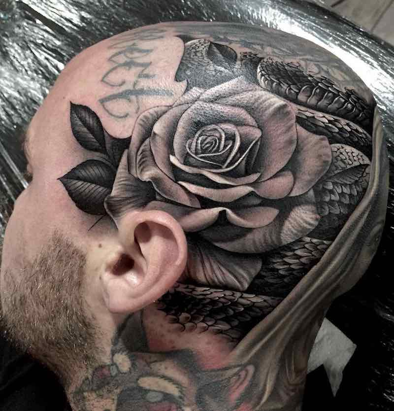 Rose Head Tattoo by Justin Burnout