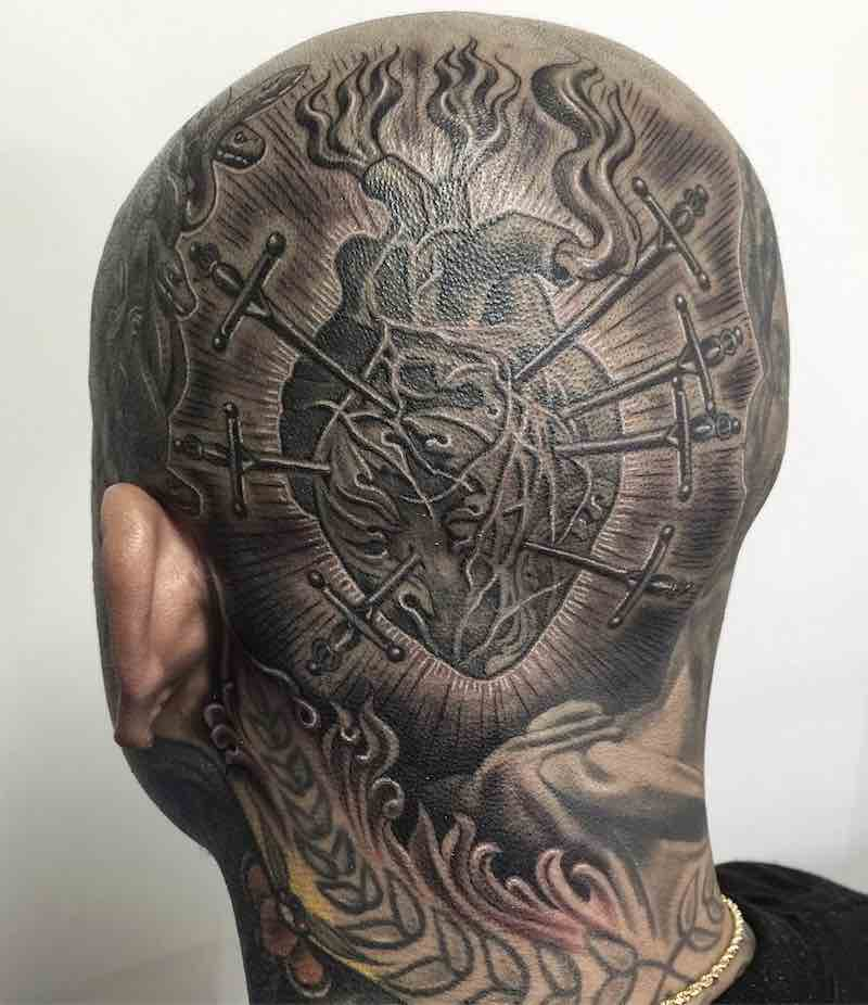Sacred Heart Head Tattoo by Julius Cvesar
