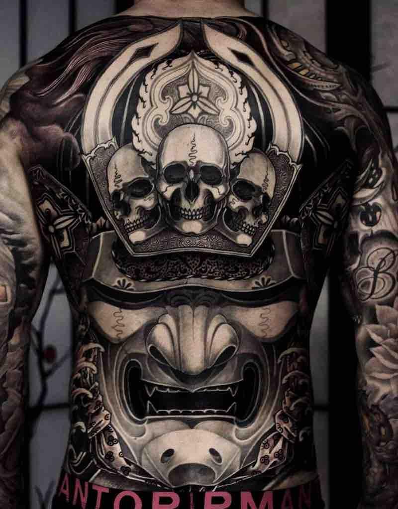 Samurai Back Tattoo by Kostas Tzikalagias
