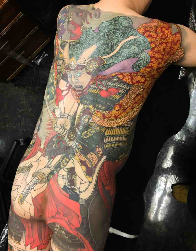 Samurai Back Tattoo by Shige