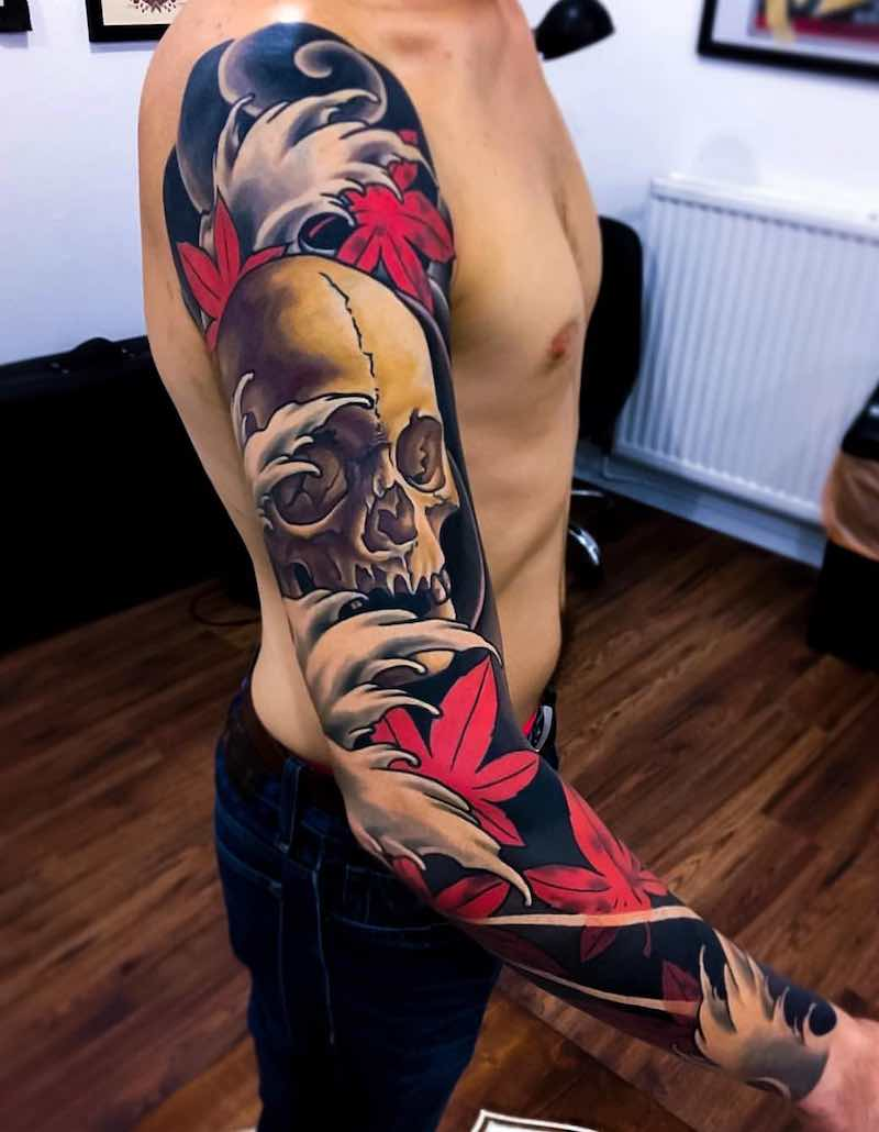 Skull Japanese Tattoo by Joe Carpenter