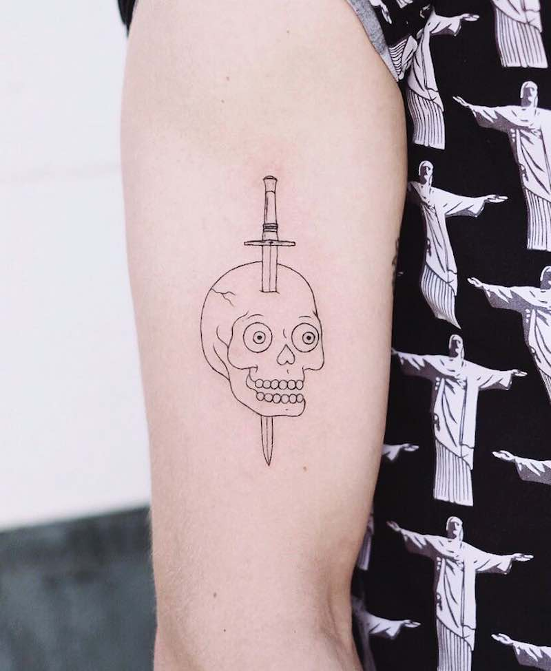Skull and Dagger Simple Tattoo by Caitlin Thomas