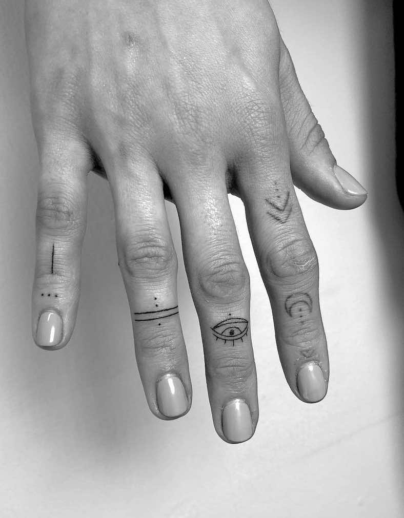 Small Finger Tattoos by Winter Stone
