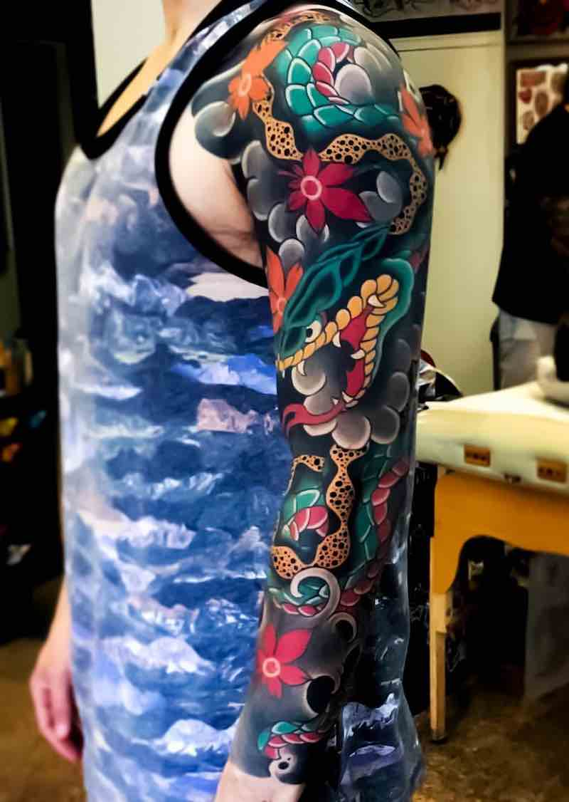 Snake Japanese Tattoo Sleeve by Hugo HAB