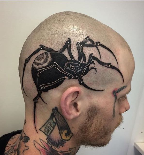 Spider Head Tattoo by Roger Moore