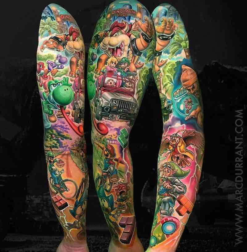 Video Game Color Tattoo Sleeve by Marc Durrant
