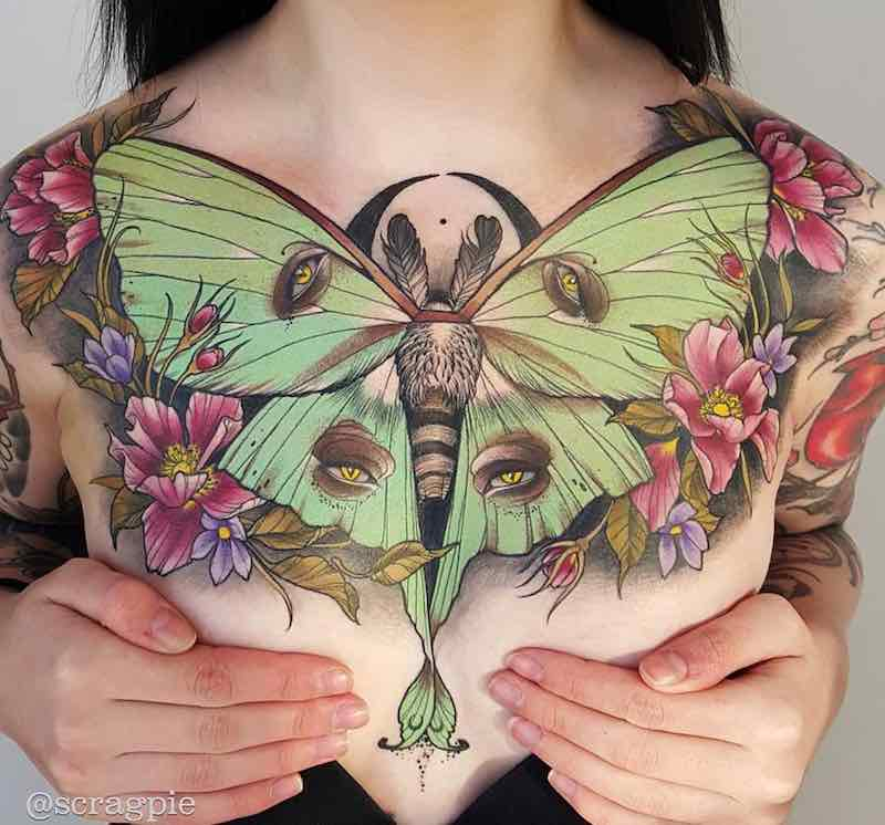 Womans Chest Piece Tattoo by Samantha Smith