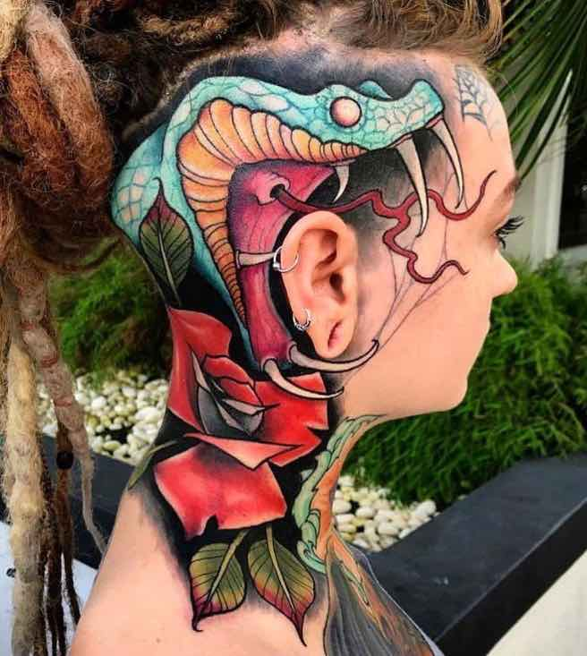 Womans Snake Head TattooJes Strickler
