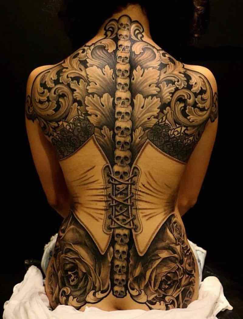 Womens Back Tattoo by Julio Greggio